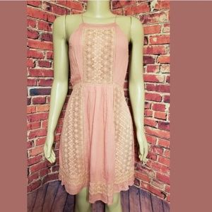 Peach Pink Coral Embroided Sleeveless Floral Dress